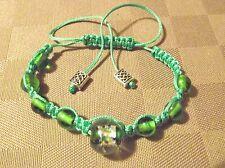 Bracelet Shambala vert * Perles Verre Lampwork  * Shamballa * Fabrication maison
