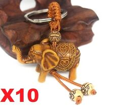 AU Stock X10 Lucky Elephants Carving Wood Pendant Keychain Key Ring Chain Gifts