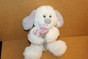 """Cuddles Collection White Puppy Dog holding knitted flower  9"""" seated"""