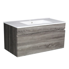Amazon Grey Series 900mm Timber Look Wall Hung Vanity Unit Wood Grain Texture