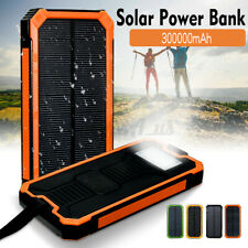 900000mAh 2USB LED Solar Power Bank Battery Charger Waterproof For Cell