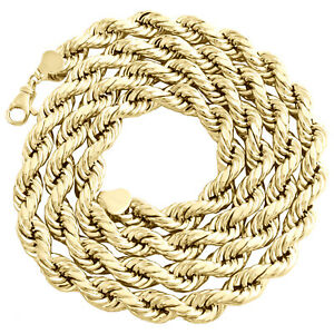 10K Yellow Gold 10mm Diamond Cut Hollow Rope Link Chain Necklace 22 - 30 Inches