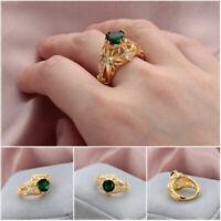 Women Emerald Ring Engagement Wedding Diamond Gemstone Anniversary Gold Ring 14k