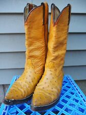 vintage cowboy pointy toe full quill ostrich skin leather boots men 6.5 golden