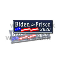 "Biden for Prison 2020 - Anti Joe Biden - Trump Stickers 2 Pack 9""x3"" D& BLU"