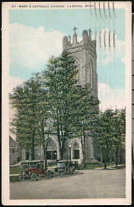LANSING MI St Mary's Catholic Church 1920's Cars Vintage Michigan Postcard