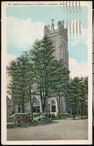 LANSING MI St Mary's Catholic Church 1920's Cars Vintage Michigan Postcard