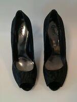 Carlos Santana Shoes Heels Peep Toe Lace Fabric Black Womens Size 9 M