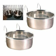2 x 15cm STAINLESS STEEL METAL COOP CUP DOG CRATE FOOD WATER BOWL CAGE ANIMAL