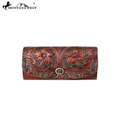 Montana West Cowgirl Leather Wallet/Clutch Brown