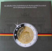 """5 x 2 Euro Gedenkmünzen 2015 """"25 Jahre Deutsche Einheit"""" A-D-F-G-J im Album"""
