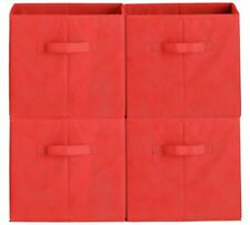 4 Red Canvas Storage Boxes Toy Fabric Folding Collapsible Cube Books Organiser