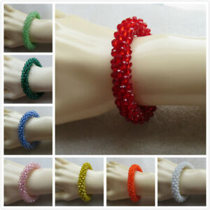 Wholesale 4 - 12  Peyote Tube Faceted Bead Bracelets. 13 Colours. UK Seller