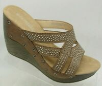 Patrizia Sandals Slides Wedge Brown Studded Lip On Open Toe Size 36 US 5.5-6