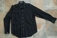 Robert Graham Large Floral Embroidered Shirt Button Up L/S Solid Black Cotton