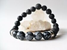 Bracelet élastique obsidienne mouchetée / pierres de lave naturelles 8mm / inter