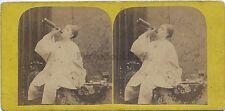 Jeune Pierrotivre Vin scène picturScène de genre Stereo Vintage albumine c 1865