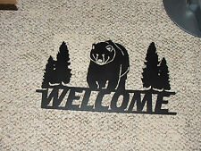 Bear and welcome sign wall decor wall decoration plasma art semi flat black
