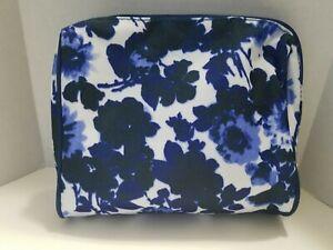 "Estee Lauder Blue & White Flower Cosmetic/Makeup bag  7"" x 7"" x 2"" NEW"