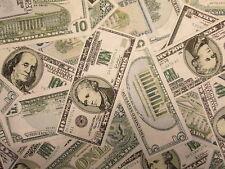 MONEY TEN DOLLAR BILLS $ FIVE CURRENCY COTTON FABRIC FQ