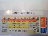 JANE'S ADDICTION  full concert ticket  Oct 20,2001 Michigan. >>FREE SHIPPING<<