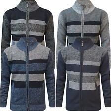 Mens Winter Warm Fleece Lined Sweater Knitted Stripe Panel Zip Cardigan Jumper