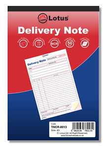 NCR Delivery Note Triplicate Book Pad Preprinted 50 Sets Carbonless TNCR-8013