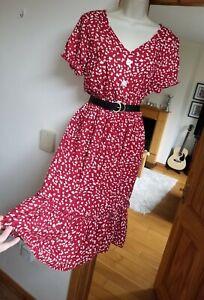 New Stunning Shein Size L 12-14 Oxblood Red Floral Ditsy Midi Tea Dress