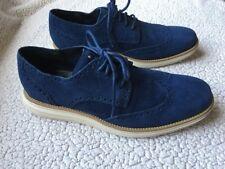 Cole Haan LUNARGRAND Blue Suede Wingtip Oxfords Navy Shoes Men's Size 10.5 $230