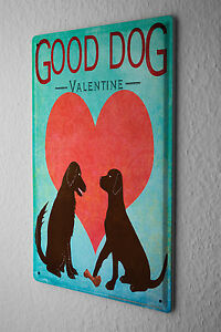 Decorative Tin Sign Funny Signs Good Dog Valentine's Day Fun Metal Sign 8X12