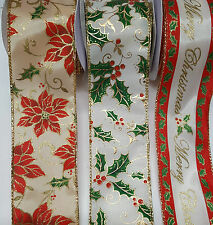 Christmas Satin Wired RibbonWidth 60mm Festive Holly Merry Christmas