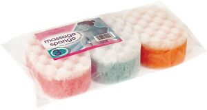 Massage Sponge 3pk (Bath, Shower, exfoliating, Scrub, Clean)