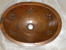 Hammered Copper Oval Sink Fleur De Lis Detail Drop in Or Under mount Bathroom