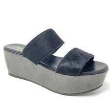 ROBERT CLERGERIE Frazzia women's sandals 38 8 black calf hair slides platform