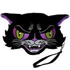 "Kreepsville 666 Kattitude 11"" Long Black Cat Wristlet Plush Purse Halloween Punk"
