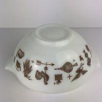 Vintage Pyrex Cinderella Bowl Early American #443 2-1/2 QT.  White Brown Prints
