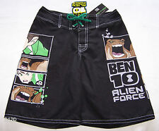 Cartoon Network Ben 10 Alien Force Boys Black Printed Board Shorts Size 10 New