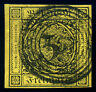 German States. Baden 1851 3 Kr SC# 2a Thin paper 5 Ring Cancel 4 Margins SUPERB