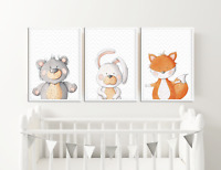 Peekaboo Animal Prints Pictures for Nursery, Baby Boys Girls Bedroom Watercolour