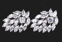 BOXED GIFT PRESENT CZ Crystal Cluster White Gold Plated Stud Earrings UK