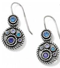 Brighton Silver HALO Blue Swarovski Crystal French Wire earrings NWT Earring💎