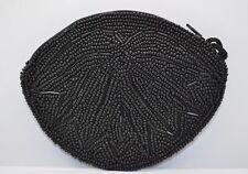 Retro beaded handmade zipper style new coin purse wallet pouch bag -BLACK  A2