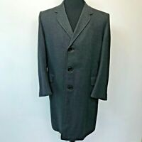 Vintage Hart Schaffner & Marx  Overcoat Black Gray size 44? Herringbone Wool CJ8