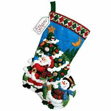 Bucilla Christmas Tree Shopping Felt Stocking Kit 86182 Santa Snowman OOP 2009