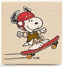 New Peanuts SKATEBOARDING SNOOPY Wood Rubber Stamp Sport Dog Athletes Tricks Fun