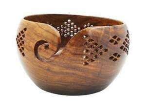 Rosewood Crafted Wooden Yarn Storage Bowl With Carved Holes & Drills Crochet