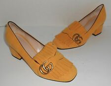 Gucci Women's GG Yellow Suede Pumps Size 37 1/2