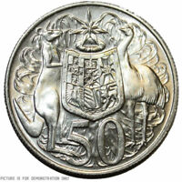 ( Free Acrylic Capsule )1966 Australian Round Silver 50 Cent Coins - 80% Silver