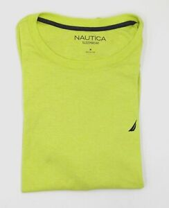 $37 Nautica Men's Yellow Pajama Crew Neck Cotton Nightshirt Sleepwear Size M