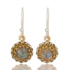 Pave Diamond Labradorite 14K Solid Gold Earrings Gemstone Jewelry